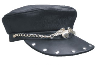 black leather bikers cap large