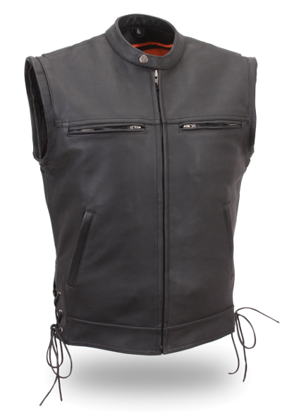Men S Leather Vented Scooter Zip Off Sleeve Jacket