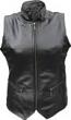 Black Long Torseau Women's Leather Vest