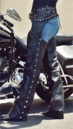 Custom Studded Leather Biker Chaps