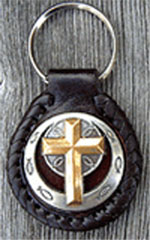3D Gold Cross with Silver Border Leather Key Fob