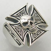 Maltese Skull Sterling Silver Ring