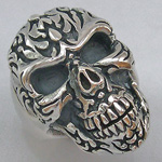 Tattooed Skull Biker Ring