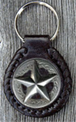3D Star Leather Key Fob