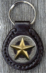 3D Gold Star Leather Key Fob