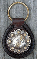 Antique Berry Leather Key Fob