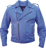 Men's Blue Demin Motorcycle Style Jacket
