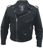 Men's Black Denim Motorcycle Style Jacket