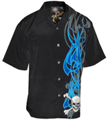 Blue Flame Cross Bones Biker Shirt