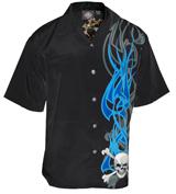 Blue Flame Cross Bones Biker Shirt