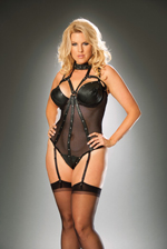 Cut-Out Halter Leather and Fishnet Teddy!