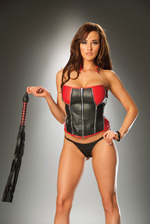 Leather strapless corset red and black