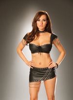 Leather Bra Top, Cap Sleeves and Chains