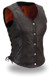 Fitted Women's Leather Side Lace Classic Vest