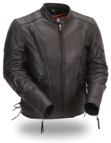 Men's Leather Exclusive Fully Functional Built in Back Support Scooter Jacket