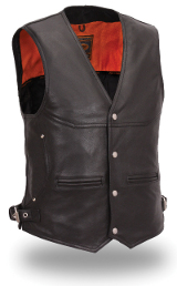 Men's Leather Deep Pocket Naked Vest