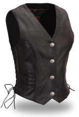 Women's Braided Leather Buffalo Nickel Vest