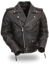 Men's Leather Classic Side Lace Motorcycle Jacket