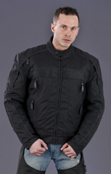 Mens Leather and Polyester Water Resistant Jacket