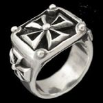 Riveted Maltese Cross Sterling Silver Ring