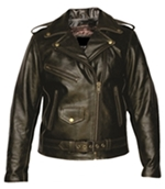Ladies Distressed Brown Motorcycle Jacket