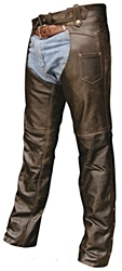 Distressed Brown Buffalo Leather Unisex Chaps