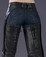 Corset Style Womens Leather Motorcycle Chaps