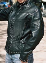 Womens Studded Leather Motorcycle Jacket
