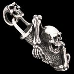 Hanging On Skeletons Biker Pendant