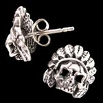 Indian Head Skull Biker Earrings