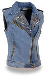 Womens Denim Studded Collar Vest