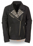 Womens Black Denim Studded Collar Jacket
