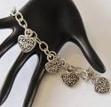 Flower Heart 5 Charm Biker Bracelet