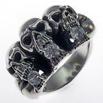 Broken Hearted Skulls Sterling Silver Biker Ring