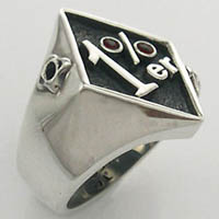 1 Percenter Red Garnet and bullet holes Biker Ring