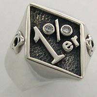 1 Percenter White CZ Biker Ring